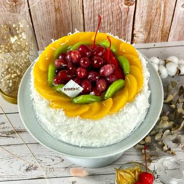 Fresh Mixed Fruits Cake with Coconut Shavings
