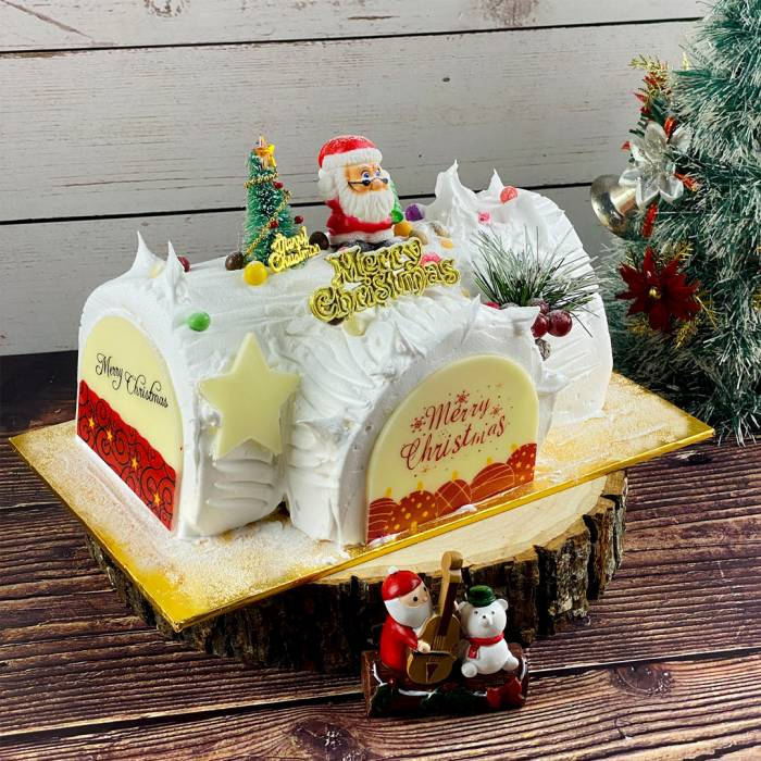 Lychee Christmas Log Cake