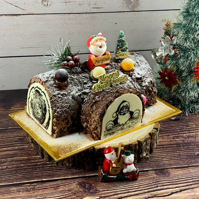 Black Forest Christmas Log Cake